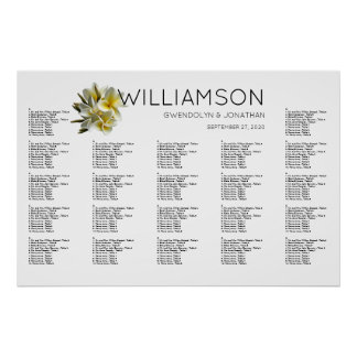 Hawaiian Yellow Plumeria Seating Chart Poster