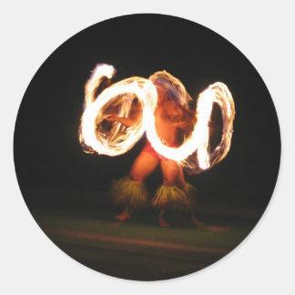 Hawaiin Fire Dance round stickers
