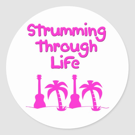 Hawaiin Ukulele tropical surf design Round Sticker