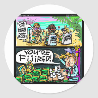 Hawiian Trump Detectives Funny Gifts & Cards Round Sticker