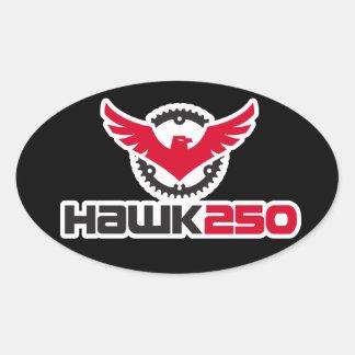 Hawk 250 Logo Black Background Oval Sticker