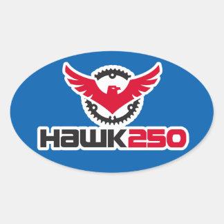 Hawk 250 Logo Blue Background Oval Sticker
