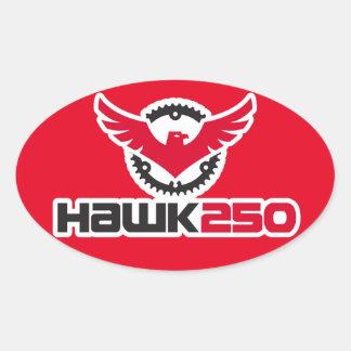 Hawk 250 Logo Red Background Oval Sticker