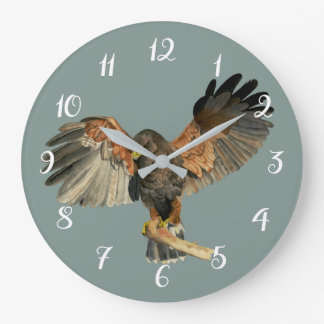 Hawk Flapping Wings Watercolor Painting Large Clock
