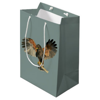 Hawk Flapping Wings Watercolor Painting Medium Gift Bag