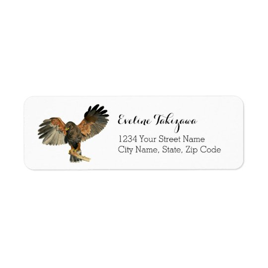 Hawk Flapping Wings Watercolor Painting Return Address Label