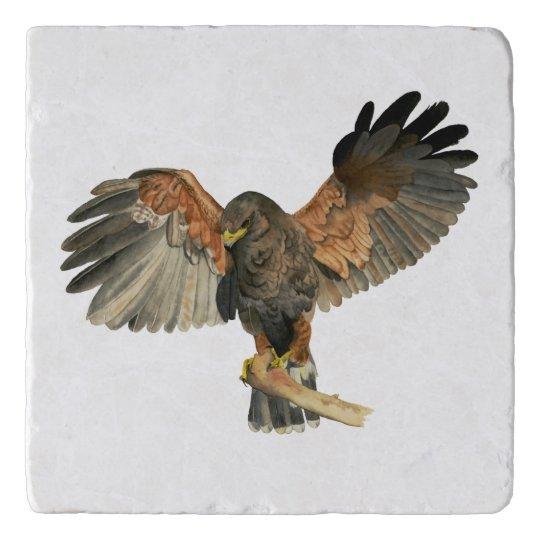Hawk Flapping Wings Watercolor Painting Trivet