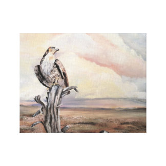 Hawk in the desert canvas print