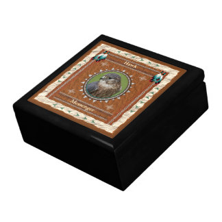 Hawk  -Messenger- Wood Gift Box w/ Tile