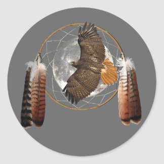 Hawk Moon Classic Round Sticker