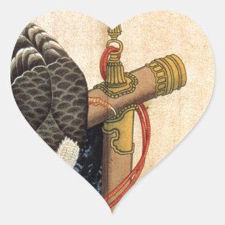 Hawk on a ceremonial stand by Katsushika Hokusai Heart Sticker