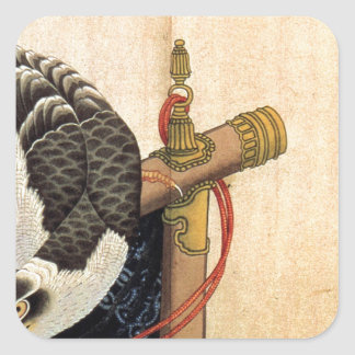 Hawk on a ceremonial stand by Katsushika Hokusai Square Sticker