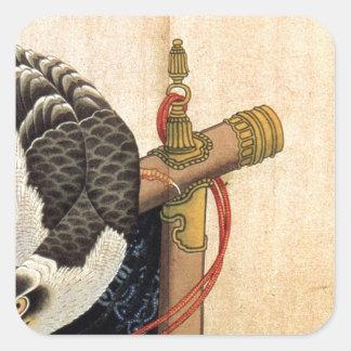 Hawk on a ceremonial stand by Katsushika Hokusai Square Sticker