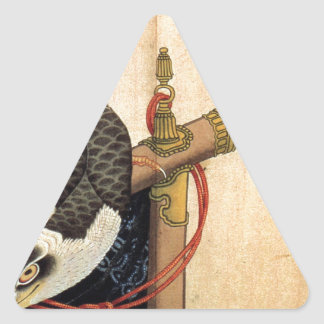 Hawk on a ceremonial stand by Katsushika Hokusai Triangle Sticker