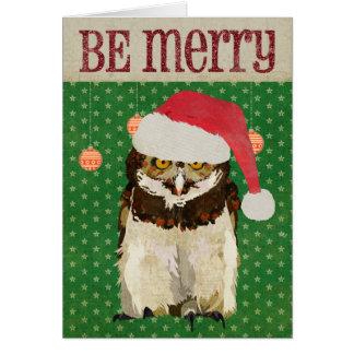 Hawk Owl Be Merry Christmas Card