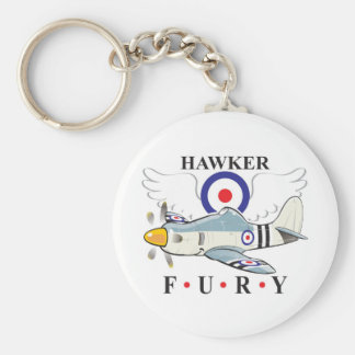 hawker fury caricature basic round button key ring