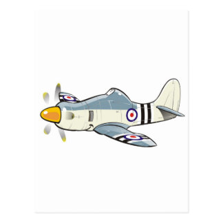 hawker fury caricature postcard