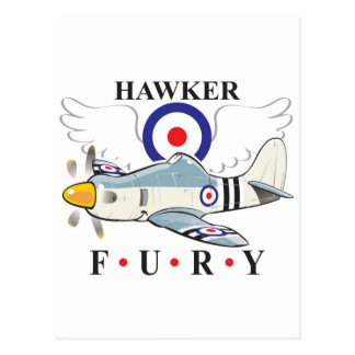 hawker fury caricature postcard