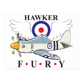 hawker fury caricature postcards