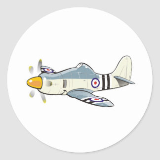 hawker fury caricature round sticker