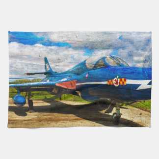 Hawker Hunter T7 aircraft on wood Tea Towel