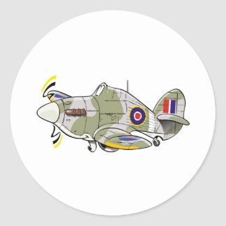 hawker hurricane caricature round stickers
