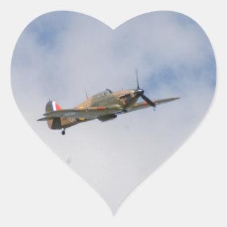 Hawker Hurricane In Flight Heart Sticker