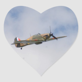 Hawker Hurricane In Flight Heart Sticker