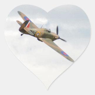Hawker Hurricane In The Clouds Heart Sticker