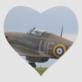 Hawker Hurricane Three Quarter View Heart Sticker