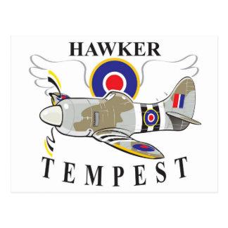 hawker tempest caricature postcard