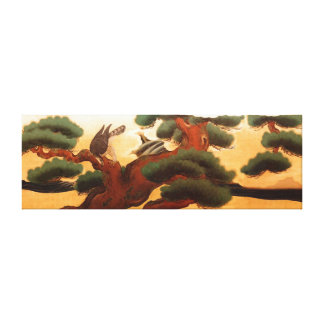 Hawks and Pine Trees by Kano Tanyu Gallery Wrap Canvas
