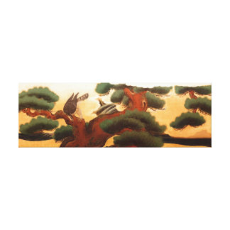 Hawks and Pine Trees by Kano Tanyu Stretched Canvas Prints