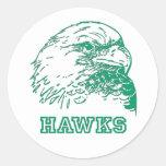 Hawks Logo Round Stickers