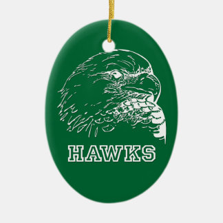 Hawks on Green Oval Christmas Ornament