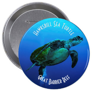 Hawksbill Sea Turtle Great Barrier Reef Coral Sea 10 Cm Round Badge