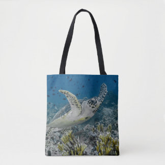 Hawksbill Sea Turtle Swimming Tote Bag