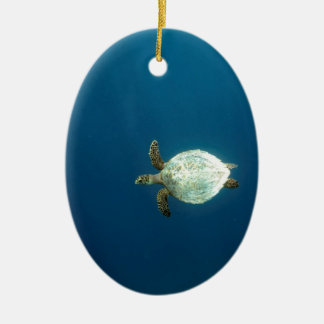Hawksbill sea turtle swimming underwater christmas ornament