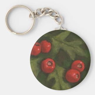 Hawthorn Berries in Oil Pastel Original Art Keychain