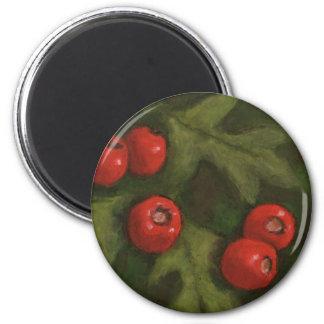 Hawthorn Berries in Oil Pastel Original Art Fridge Magnets