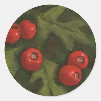 Hawthorn Berries in Oil Pastel Original Art Round Stickers