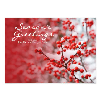 Hawthorn berries under snow 13 cm x 18 cm invitation card
