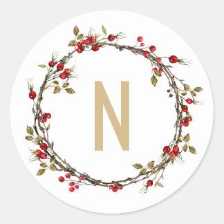 Hawthorn Wreath Monogram Stickers