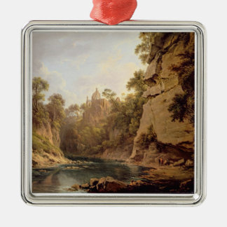 Hawthornden Castle, near Edinburgh, c.1820-22 (oil Silver-Colored Square Decoration