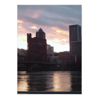 Hawthorne Bridge Portland Skyline 11 Cm X 16 Cm Invitation Card