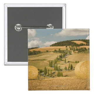 Hay bale and rolling landscape, Tuscany, Italy 15 Cm Square Badge