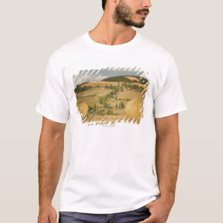 Hay bale and rolling landscape, Tuscany, Italy T-Shirt
