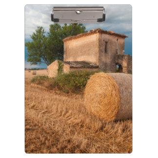 Hay bale in Provence field Clipboard