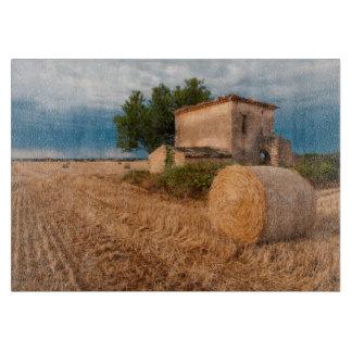 Hay bale in Provence field Cutting Board