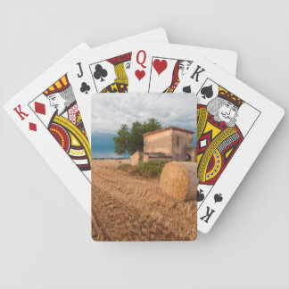 Hay bale in Provence field Playing Cards